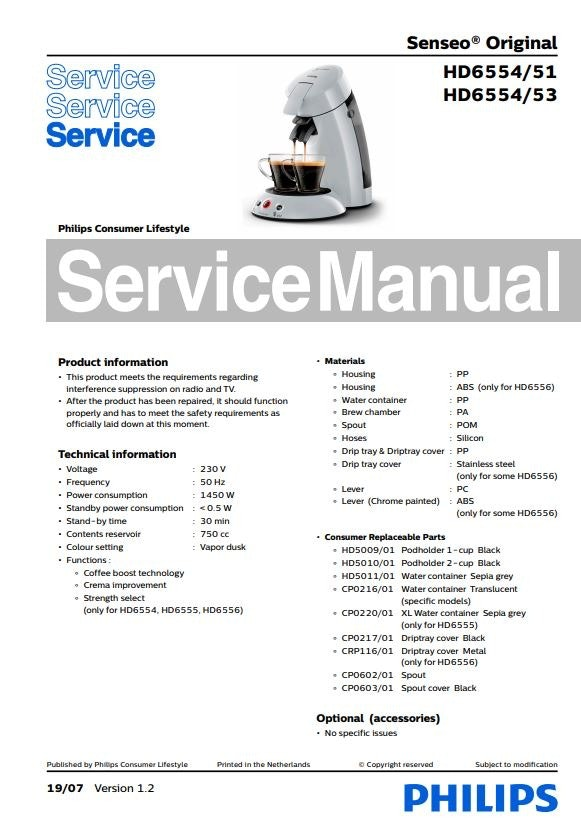 Philips Senseo HD6554 51 53 Service Manual FREE DOWNLOAD