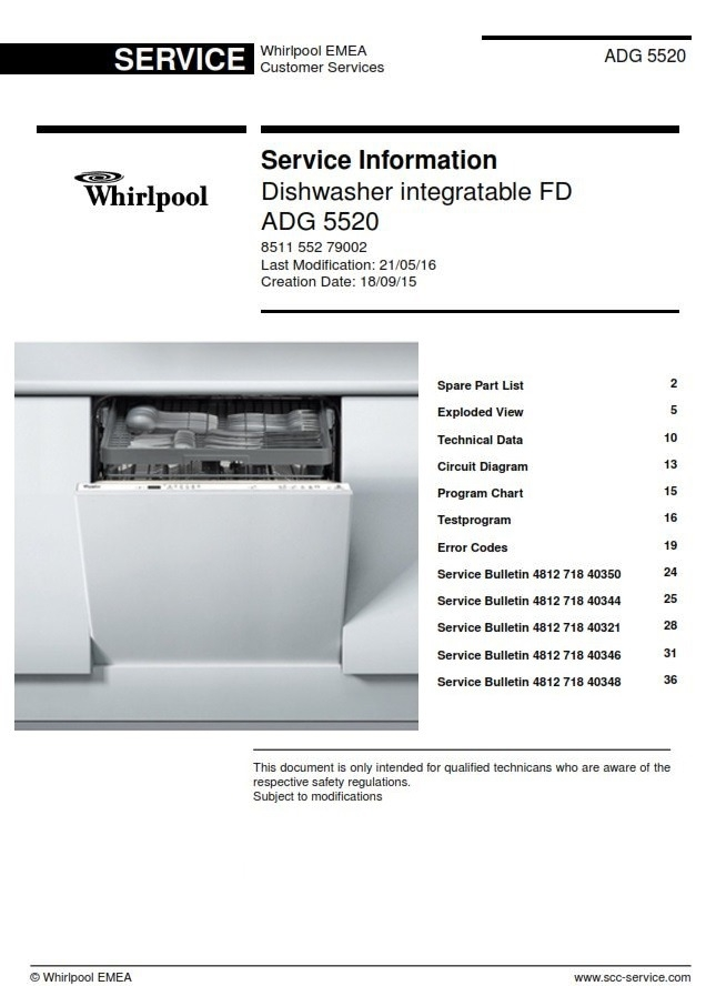 Whirlpool Adg 5520 Dishwasher Service Information Manual