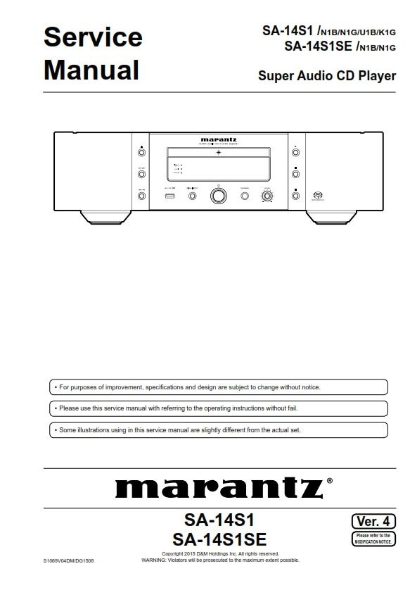 Marantz Sa 14s1 14s1se Super Audio Cd Player Service