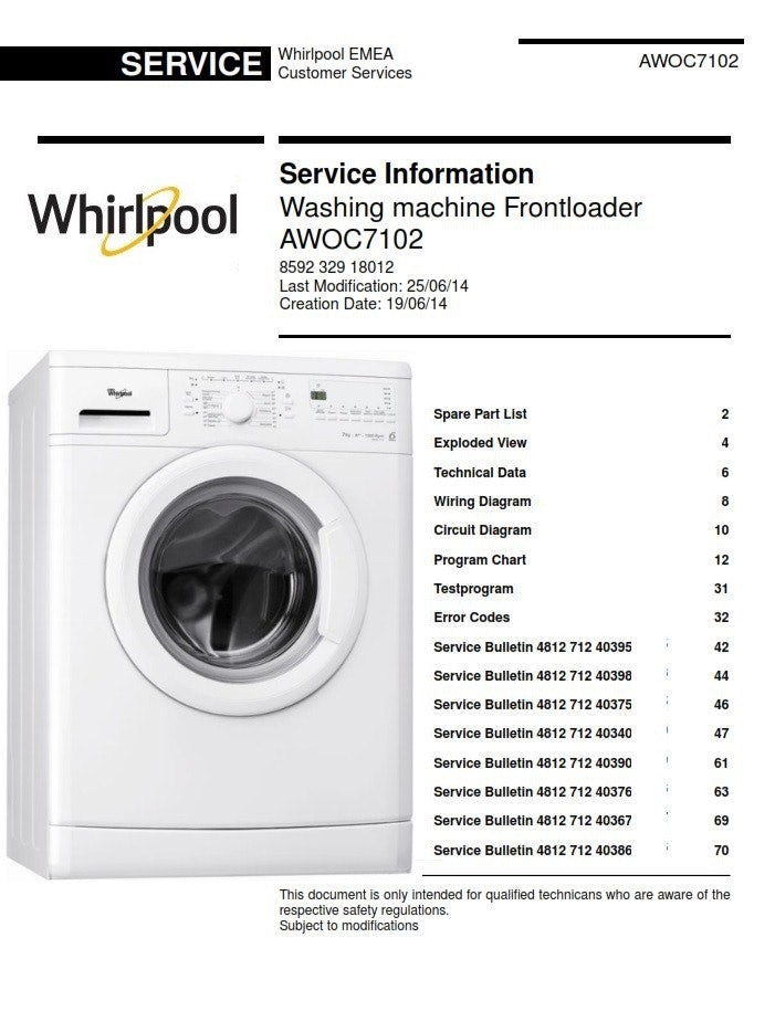 Whirlpool AWOC7102 Front Loader Washing Machine Service Manual - ANY  Service ManualANY Service Manual