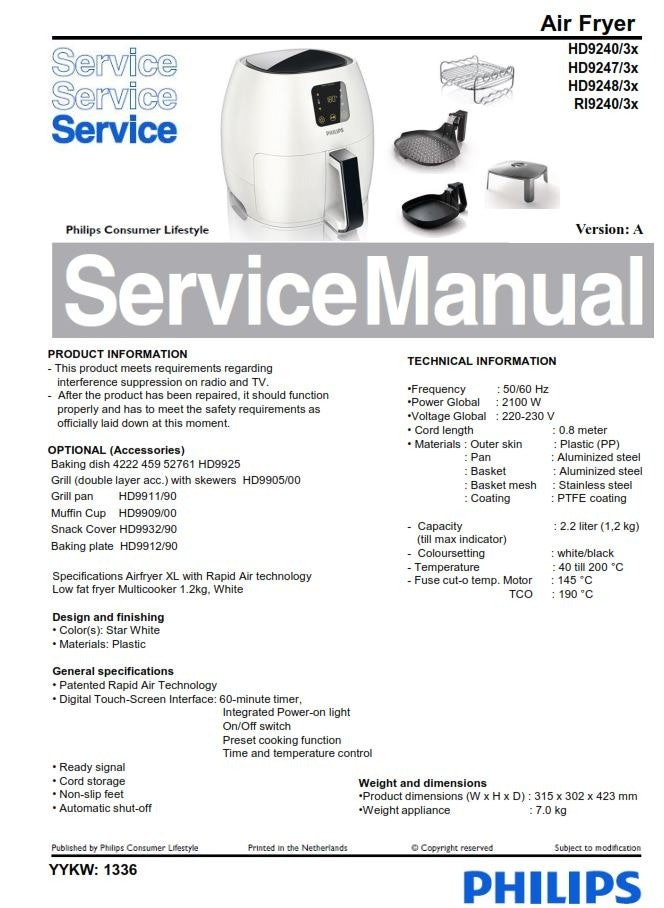 Philips Airfryer HD9240 HD9247 HD9248 Service Manual FREE