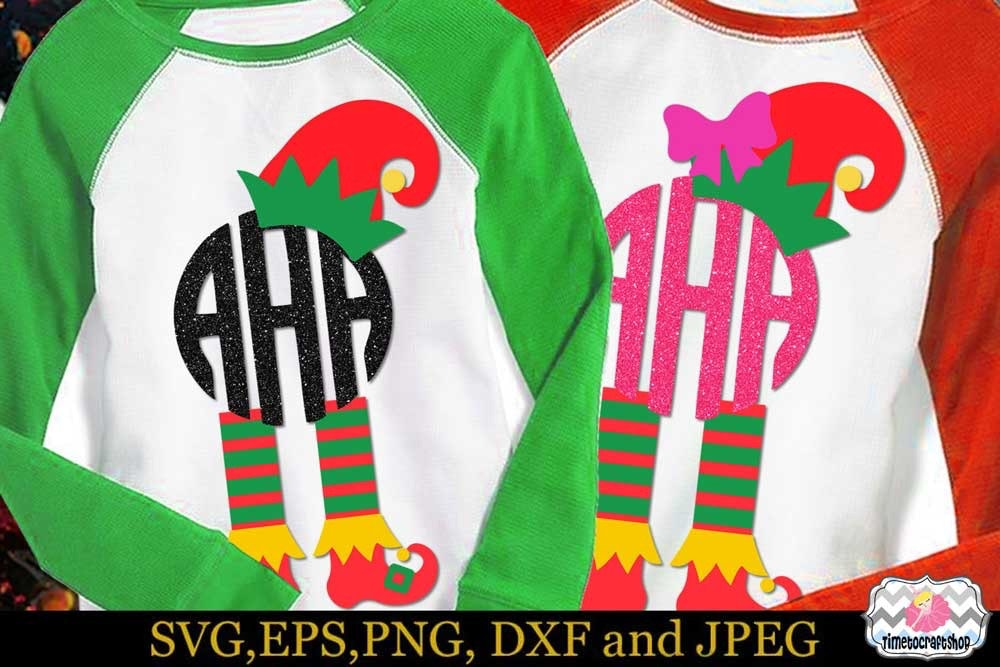 Svg Dxf Eps Png Cutting Files Christmas Elf Hat And Leg Elf S Boots Circle Monogram Timetocraftshop