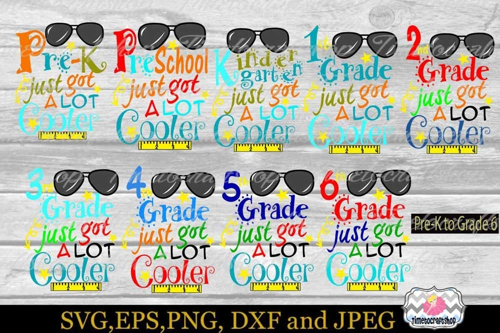 Svg Dxf Eps Png Back To School All Grade Bundle Timetocraftshop