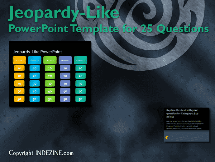 Jeopardy Like Powerpoint Template 25 Questions Indezine