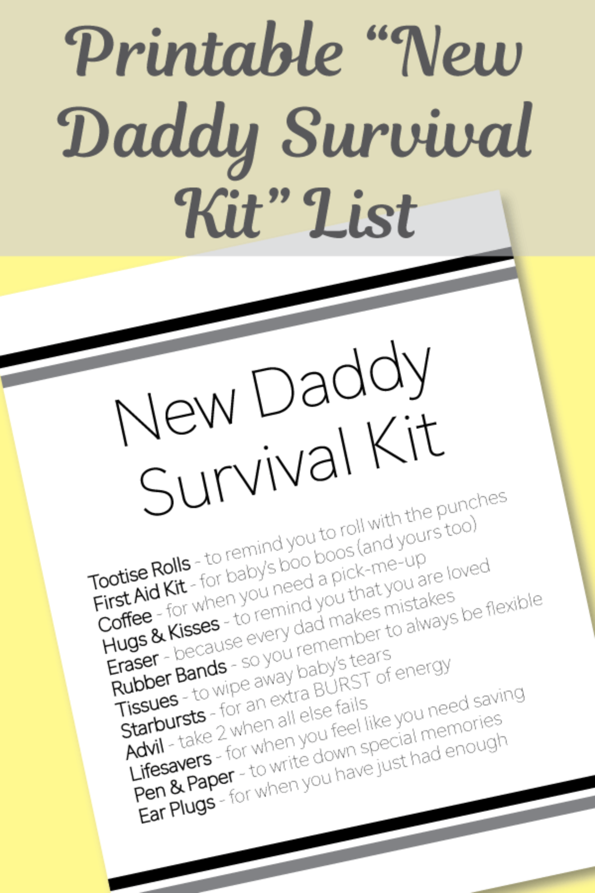 Free Printable New Daddy Survival Kit List Print It Baby