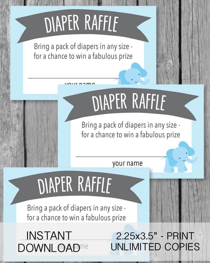 Printable Blue Elephant Jungle Diaper Raffle Tickets