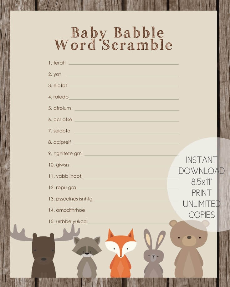 woodland animals baby babble word scramble game baby