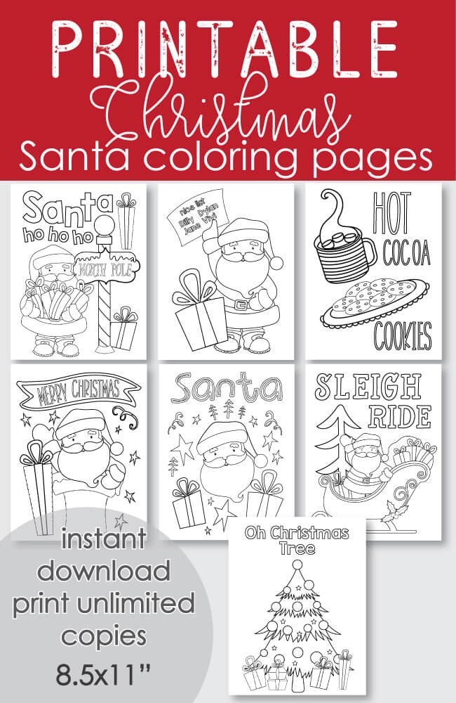 Free Printable Santa Christmas Coloring Pages 7 Pages Holiday