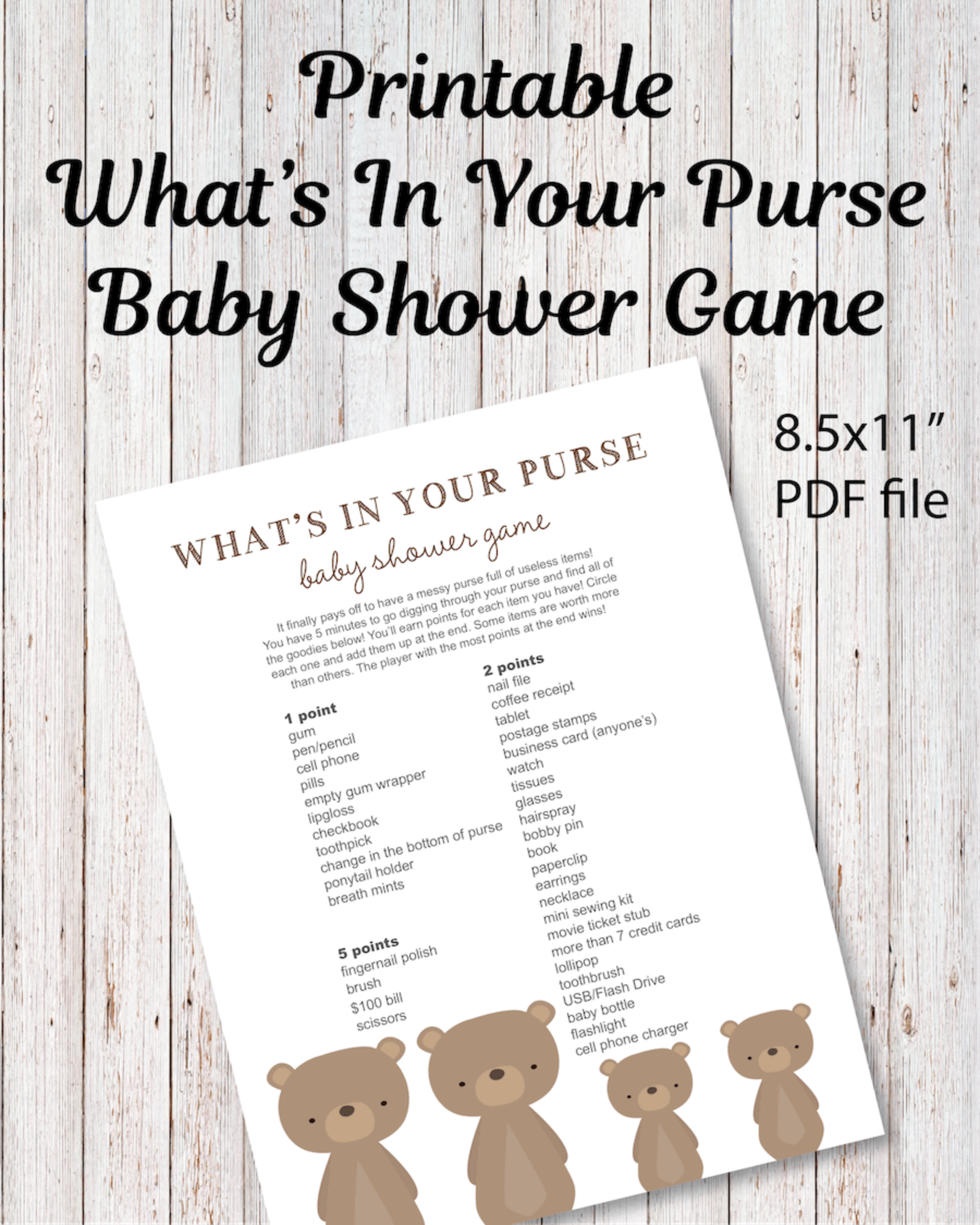 Printable What's In Your Purse Baby Shower Game - Woodland ...