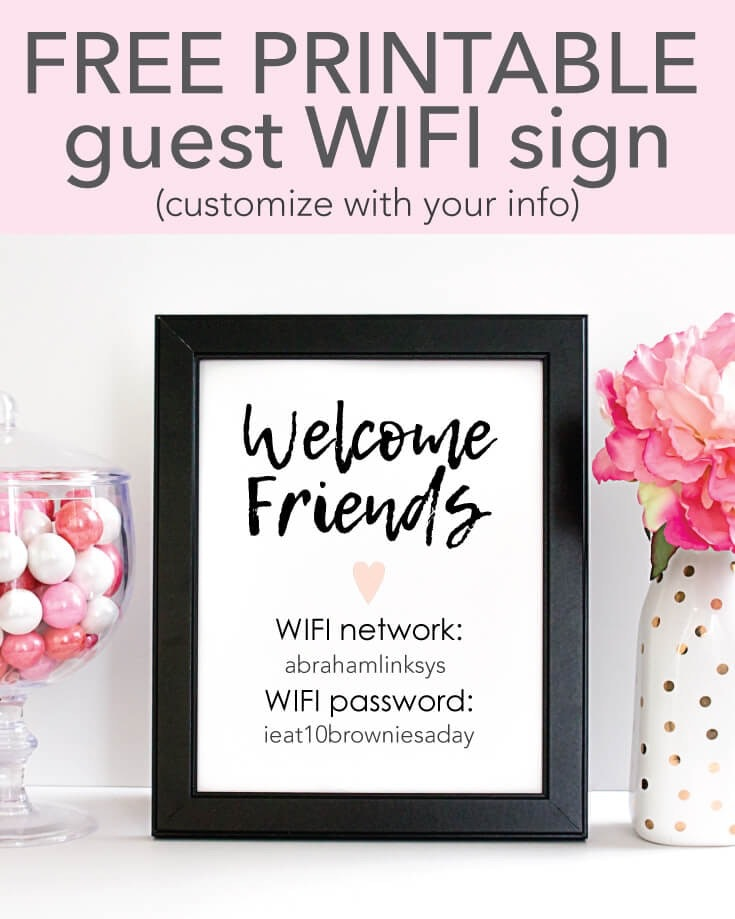 Free Printable Wifi Password Sign 5x7 Customize Print Frame For Guests To Use Print It Baby