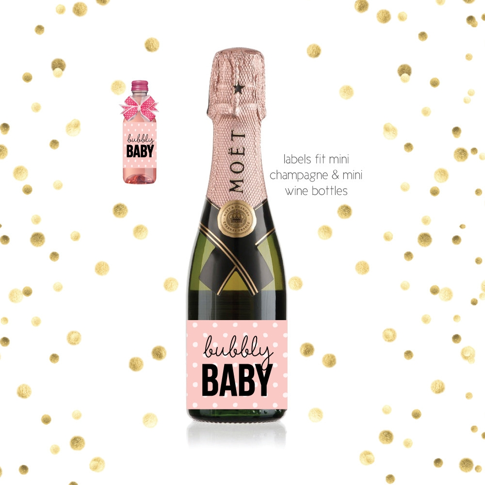 Baby Shower Favors Champagne Bottle Label Baby Mini Champagne Labels Baby Labels 0139 Tropical New Pregnancy Announcement Wine Label