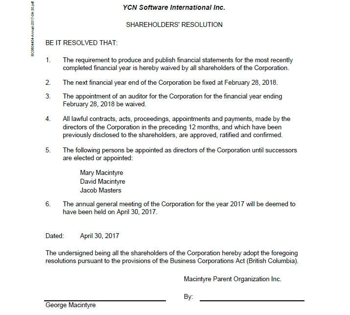 Example of Annual Shareholder Documents