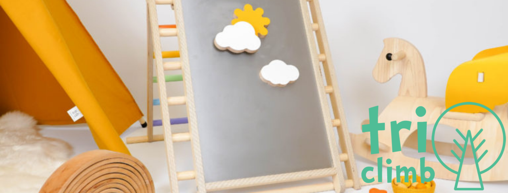 Triclimb is a classic wooden climbing triangle expertly refined and designed by Christine an experienced cabinet maker and inventor. Every detail and measurement serving a purpose to enrich your child's experience and possibilities to play. Triclimb is strong, stable, light and beautiful.