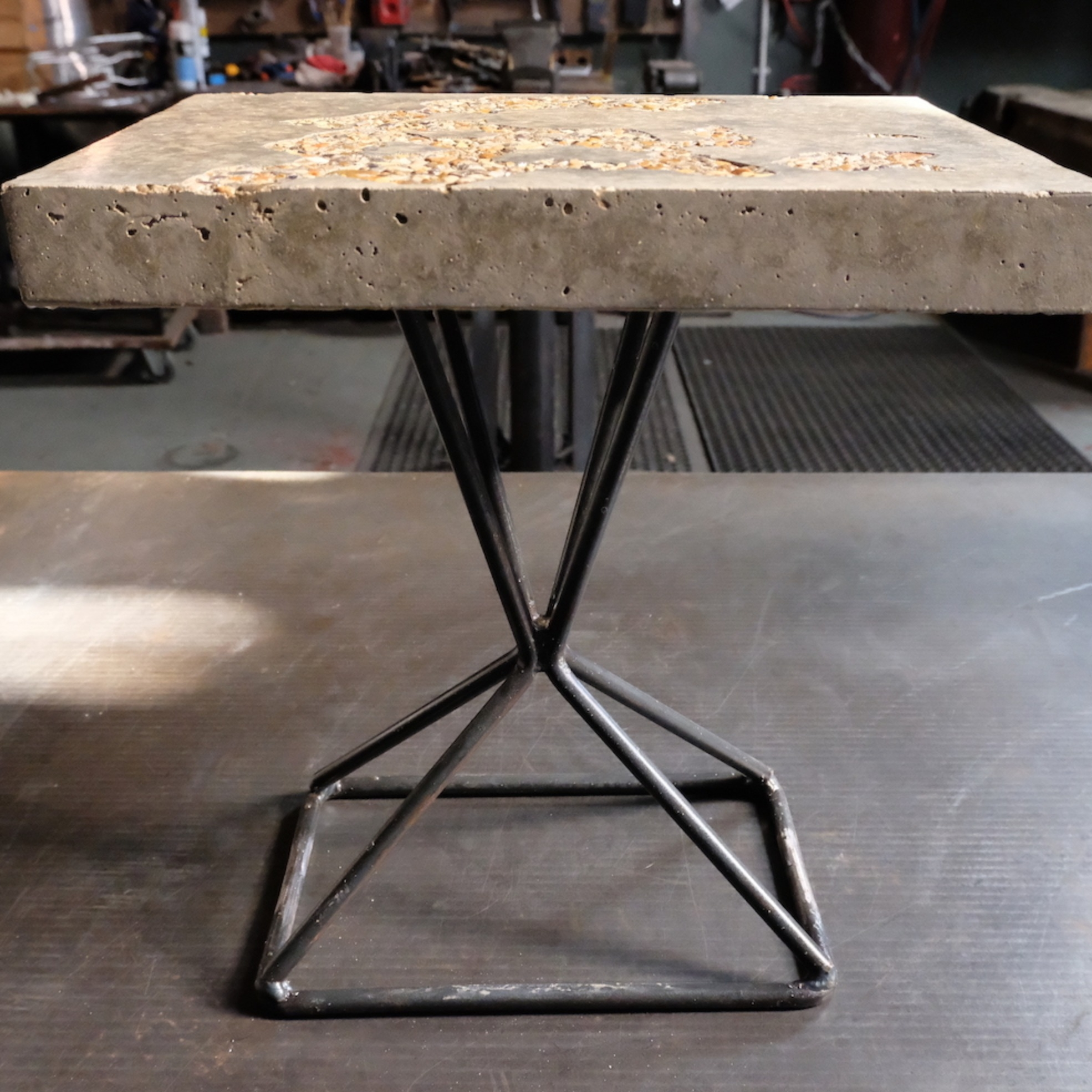 Dungeness concrete side table