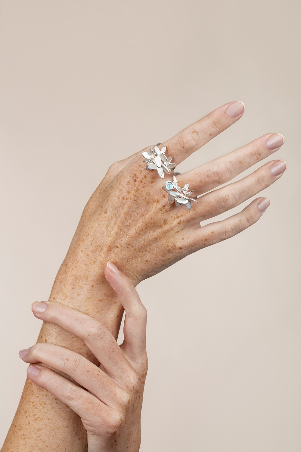 Lyng large rings with topas, inspired by leaves, nature and origami. Designed by Norwegian jewelry designer Kaja Gjedebo