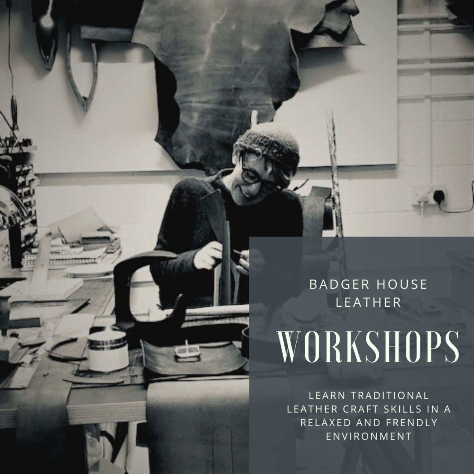 Leather workshops in Frome, Somerset working with sustainable leather