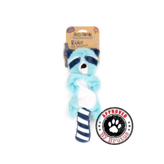 Eco friendly dog and puppy toy by Beco Pets, Randy the Raccoon, made from recycled plastic bottles
