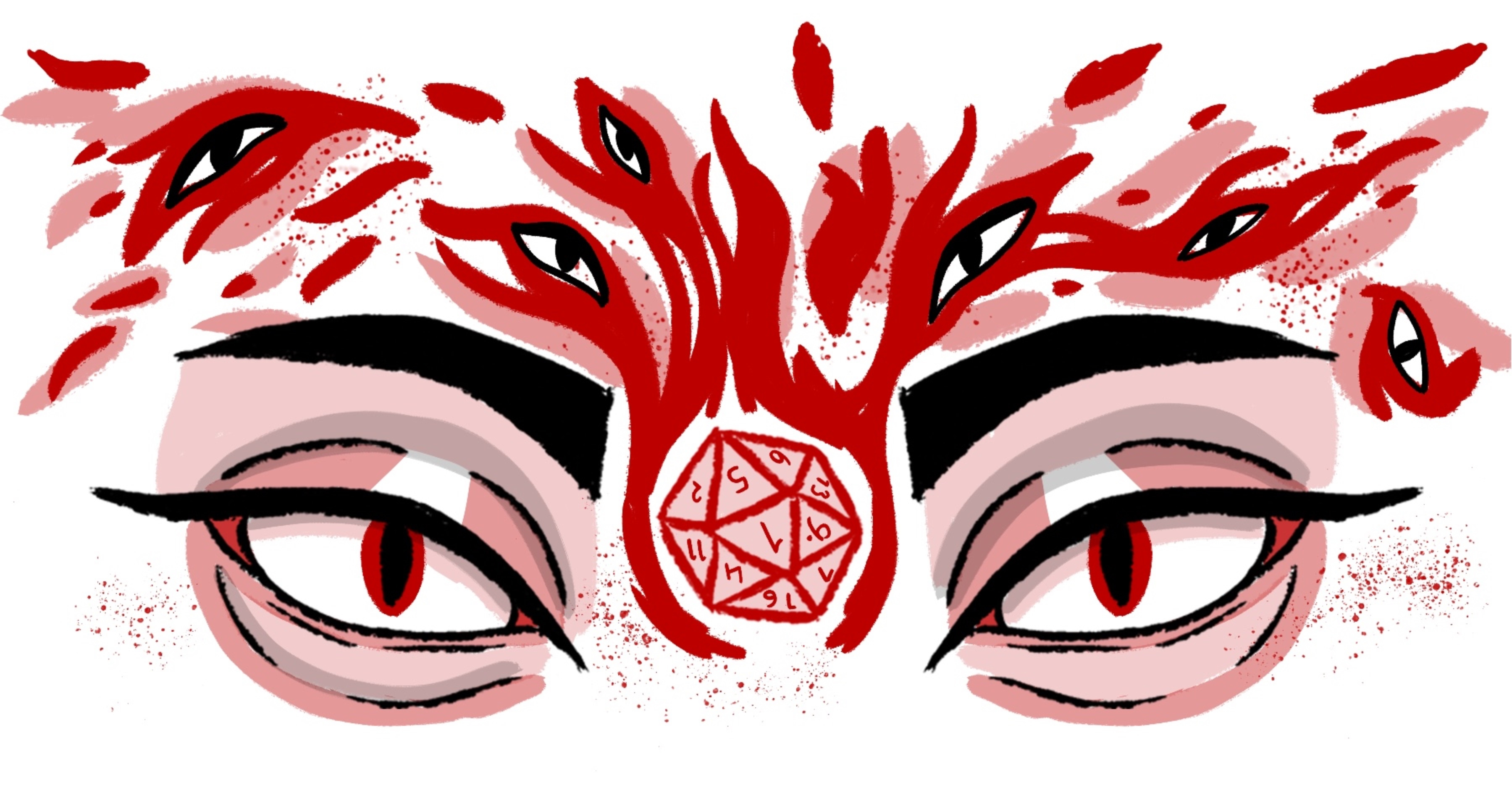 An illustration from DWTD. Two eyes with sharp eyebrows and fierce winged eyeliner stare at the view. A d20 is suspended between these eyes, surrounded by red flames with spread up and around the eyes. In the flames are more eyes. All of the eyes have snake-like slit pupils.