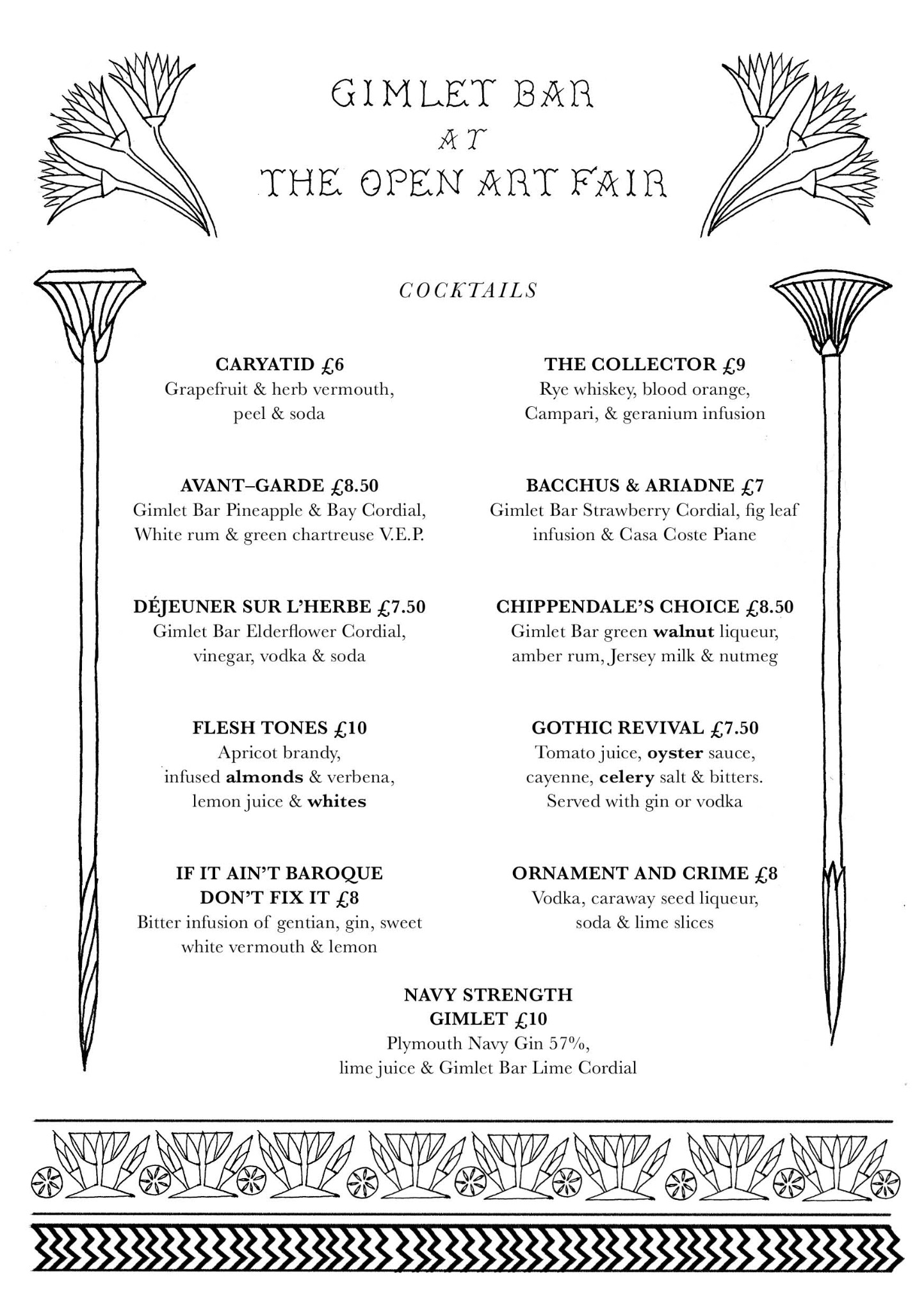 Our special menu for The Open Art Fair in London