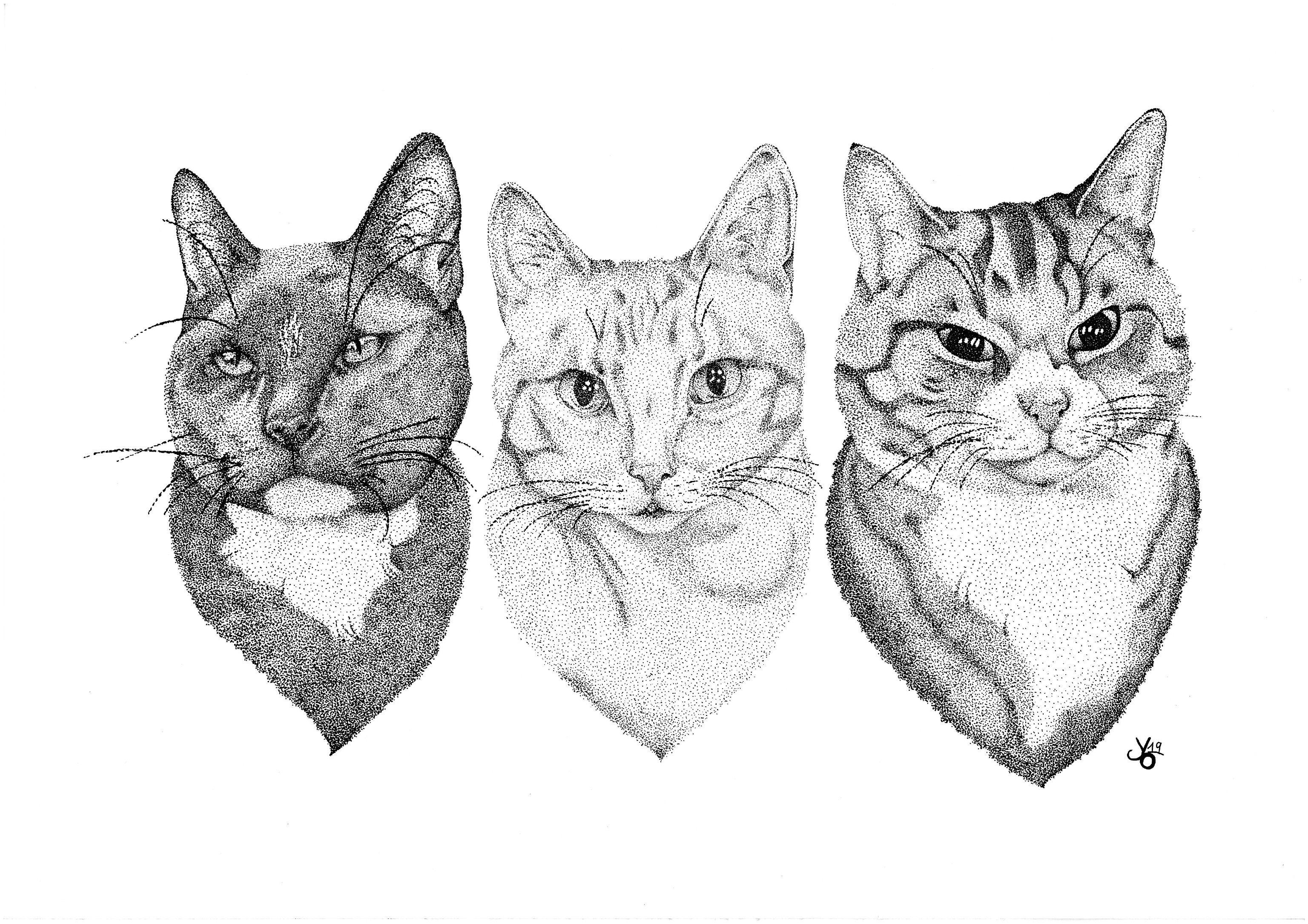 Pointillism Cats
