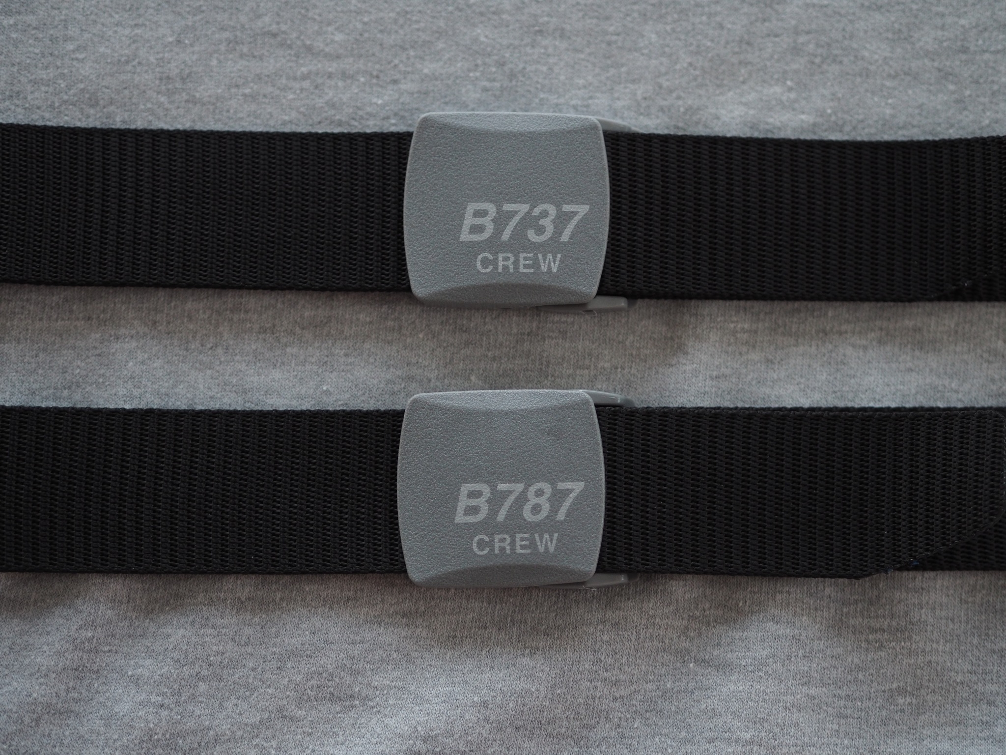 Crew Belts with plastic buckles for an easy pass thriugh security screening