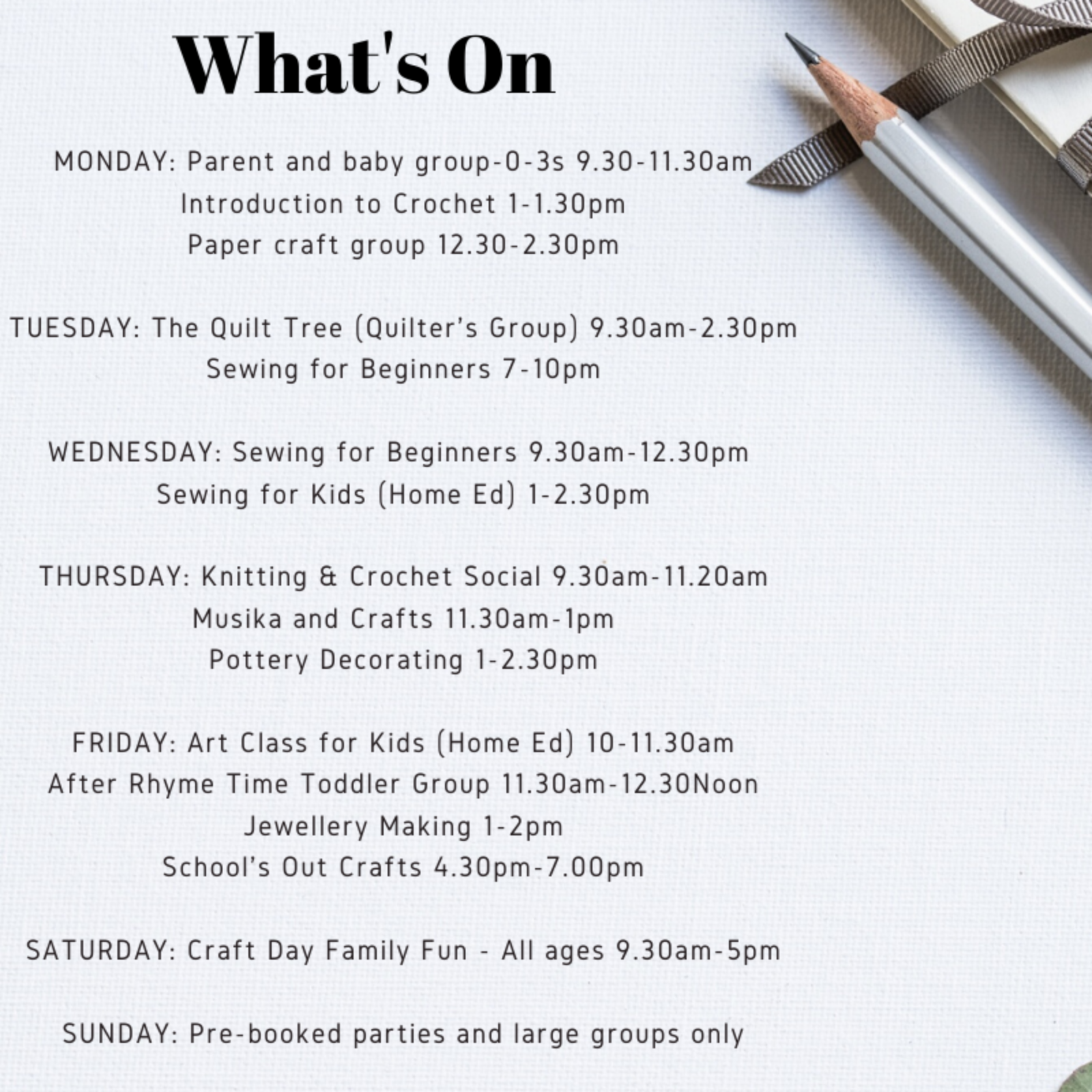 What's On at Daisy Elephant Craft Den