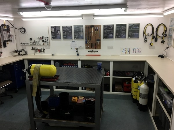 Scuba service room at canary divers dive centre in blackburn uk