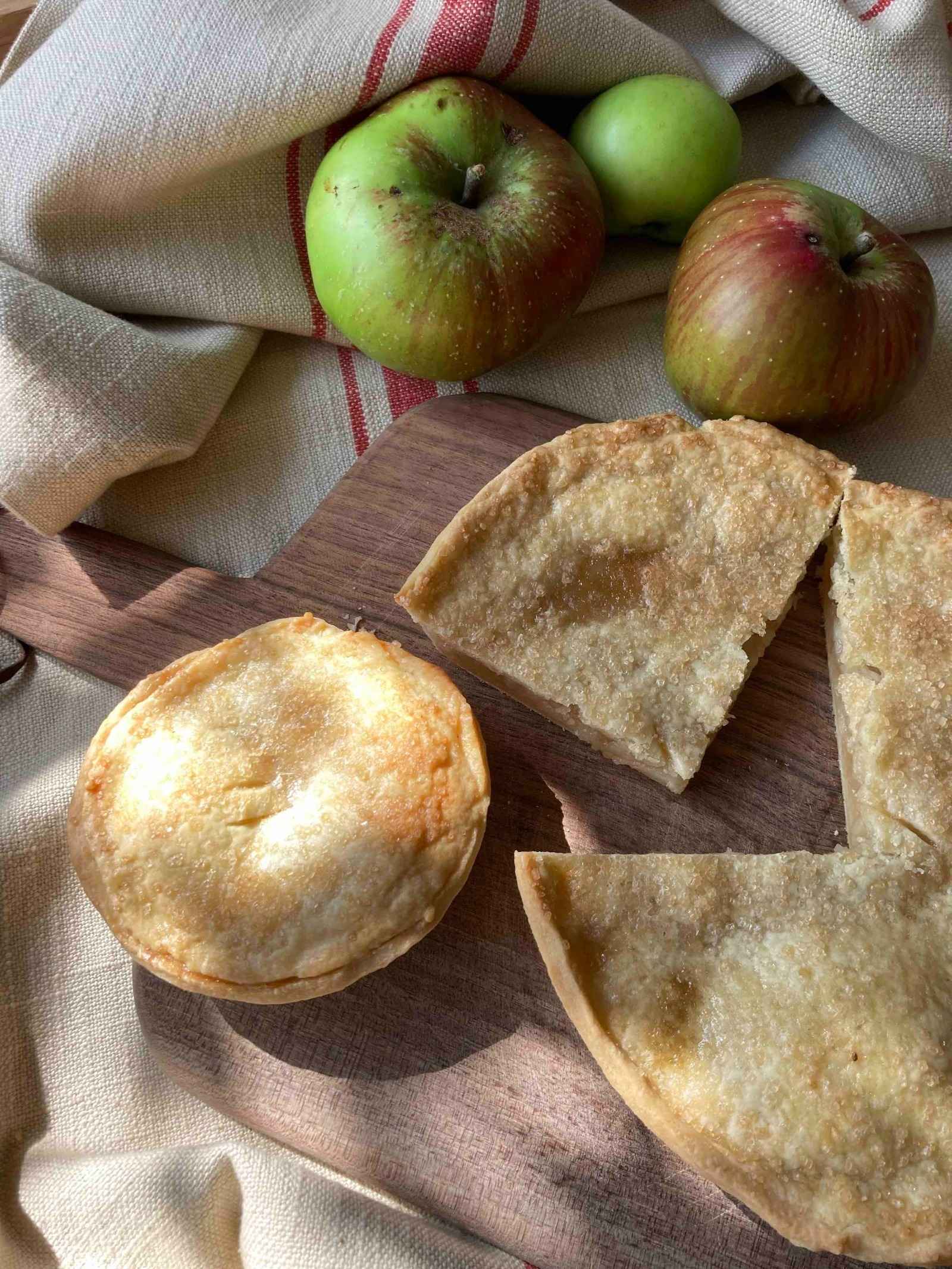 Simon's apple pies with the apples he picked from Dave-next-door's Tree