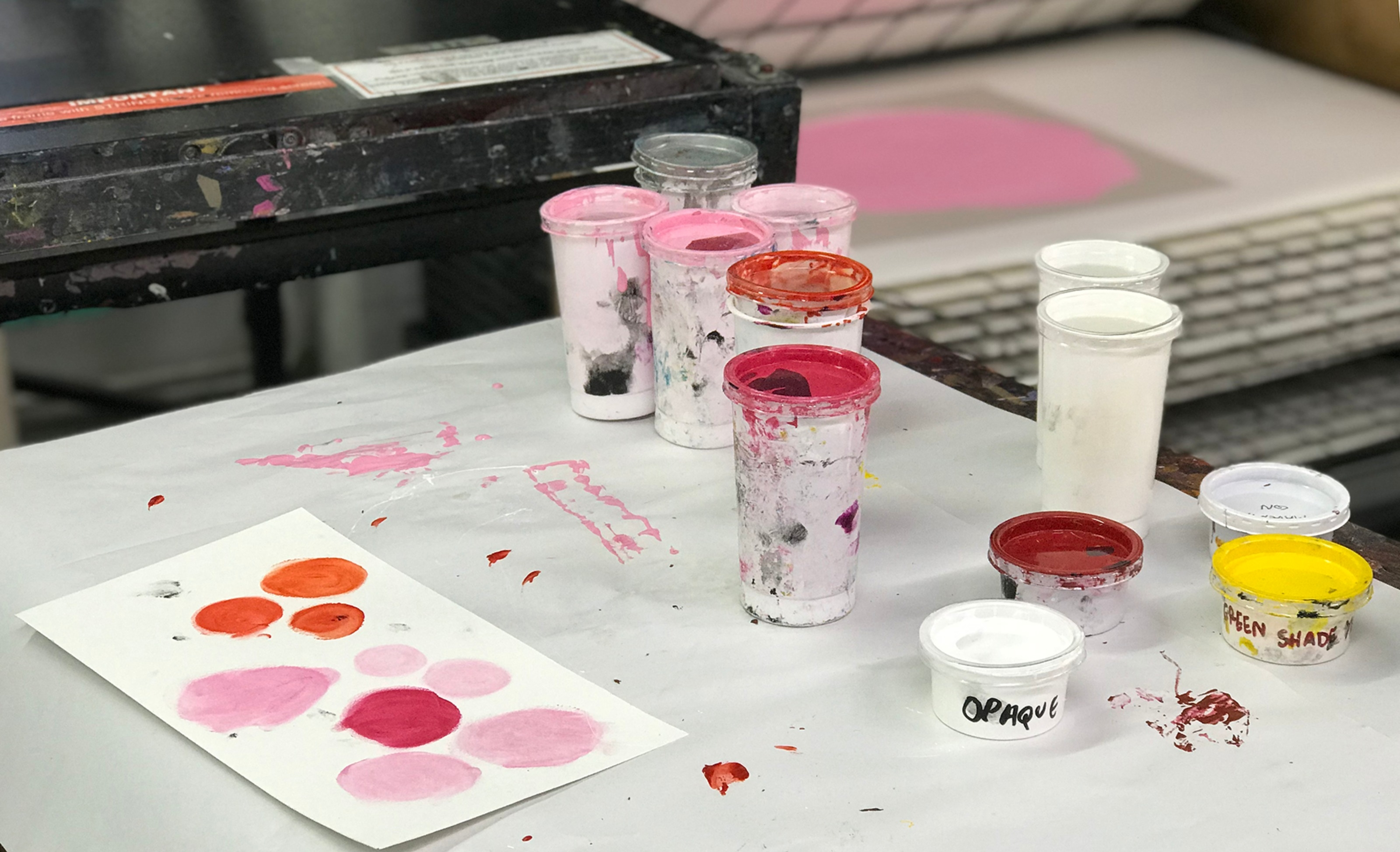 colours during screenprinting