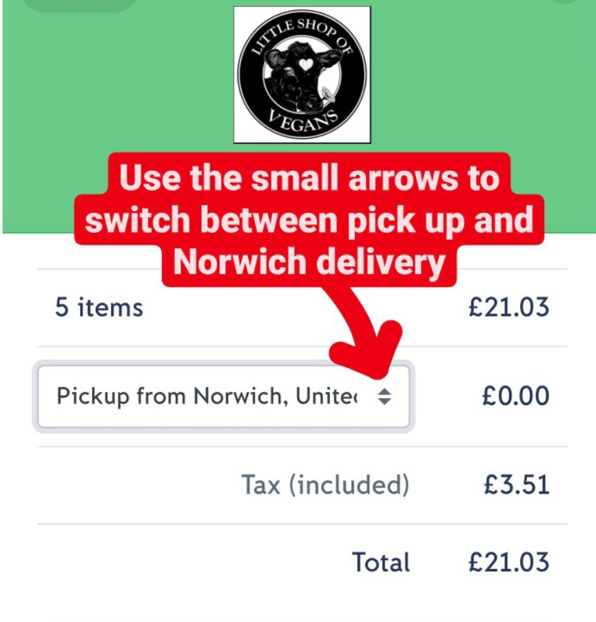How to switch between Norwich delivery (NR1-NR8), UK postal delivery and pick up
