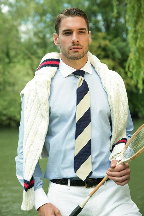 Styling the Tan and Navy Stripe Tie