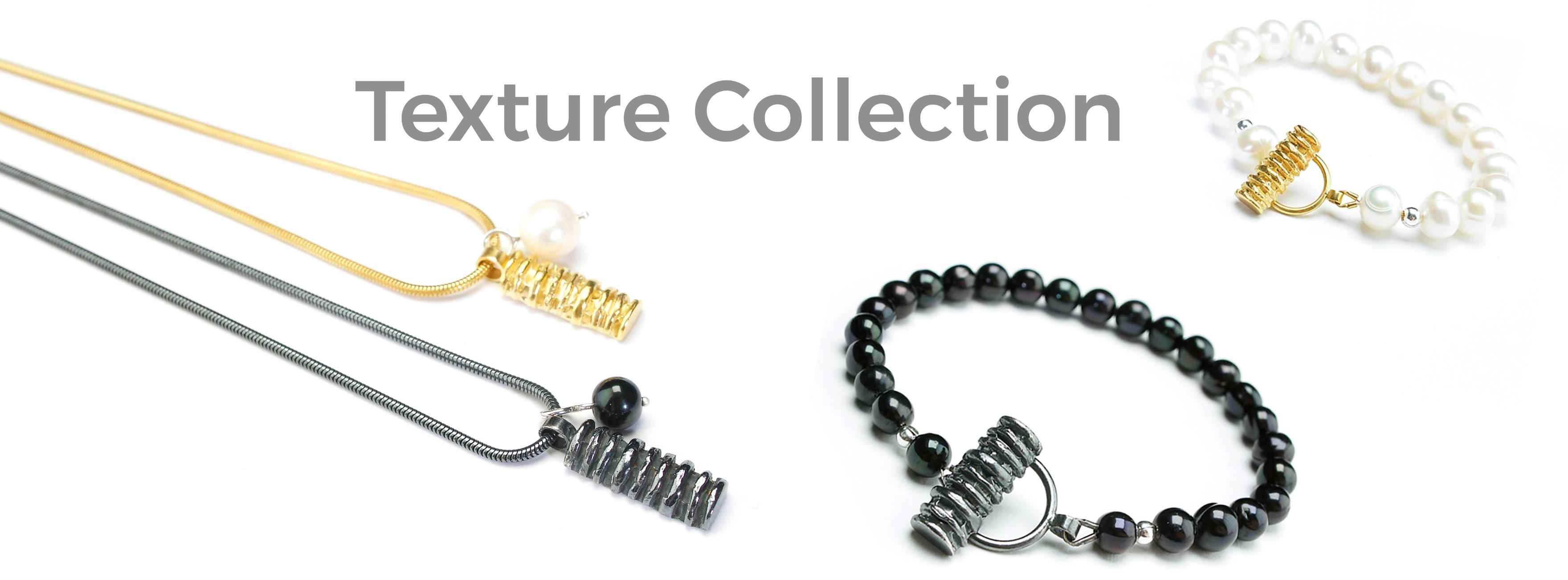 Ridged pendants and bracelets with pearls
