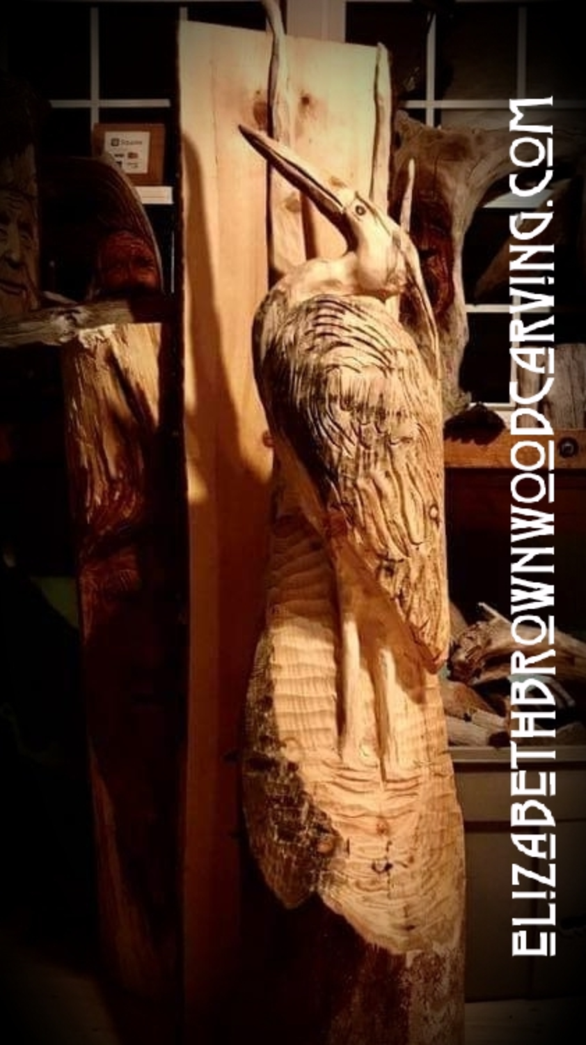 Chainsaw carved heron.