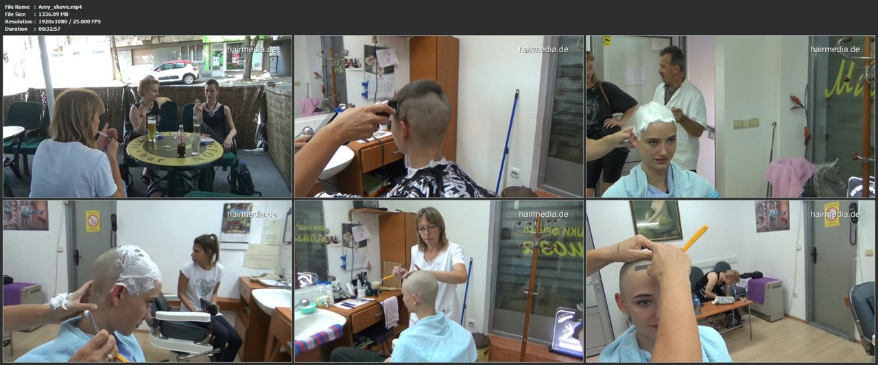 Amy female headshave with lather and knife