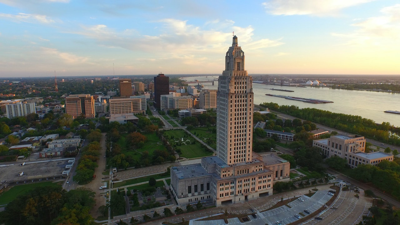Baton Rouge aerial stock footage
