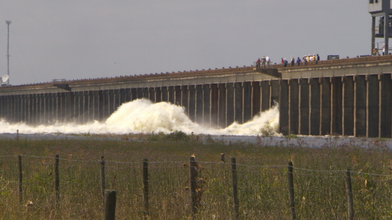 Morganza spillway video stock footage
