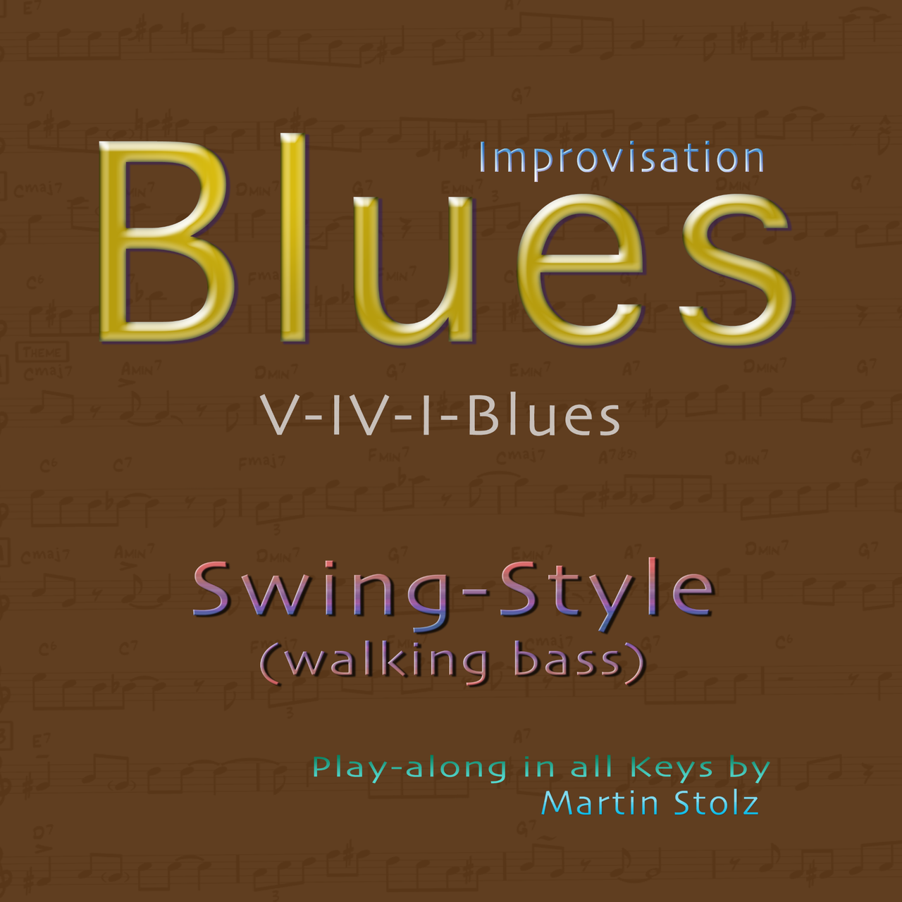 Blues play-along in swing style (walking bass) in all keys