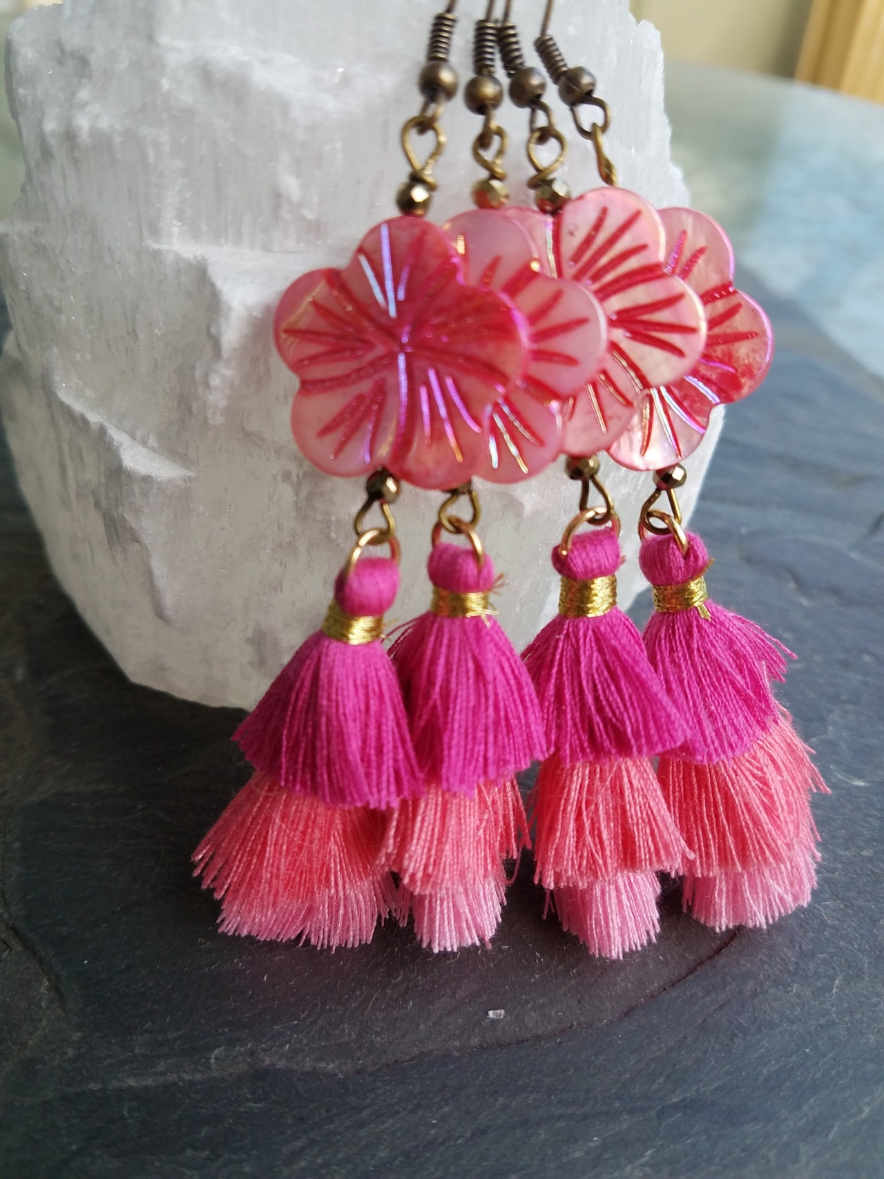 Pink Pineapple Cactus earrings | pink shell and tassel