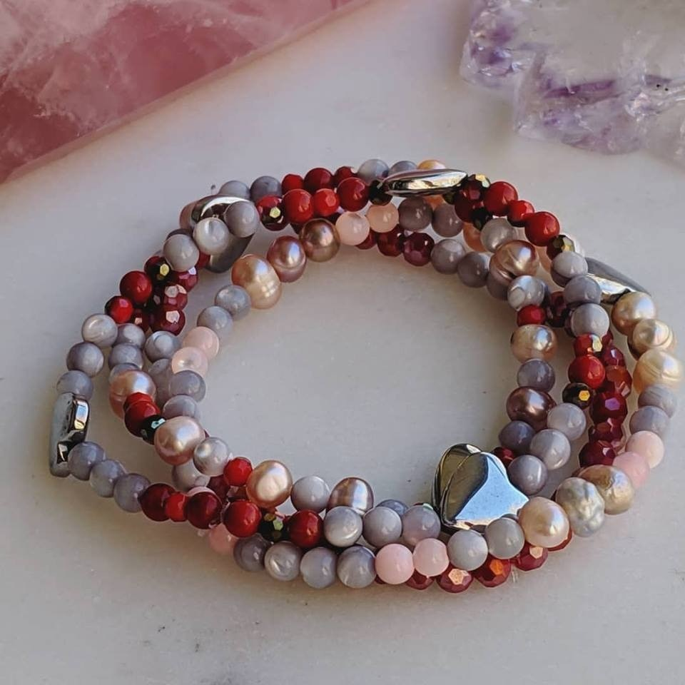 Flock of Hearts - dainty 4 piece stack with free 2 day shipping USA