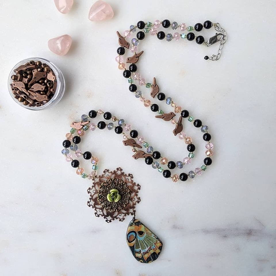 My Secret Garden | vintage inspired glass and obsidian necklace