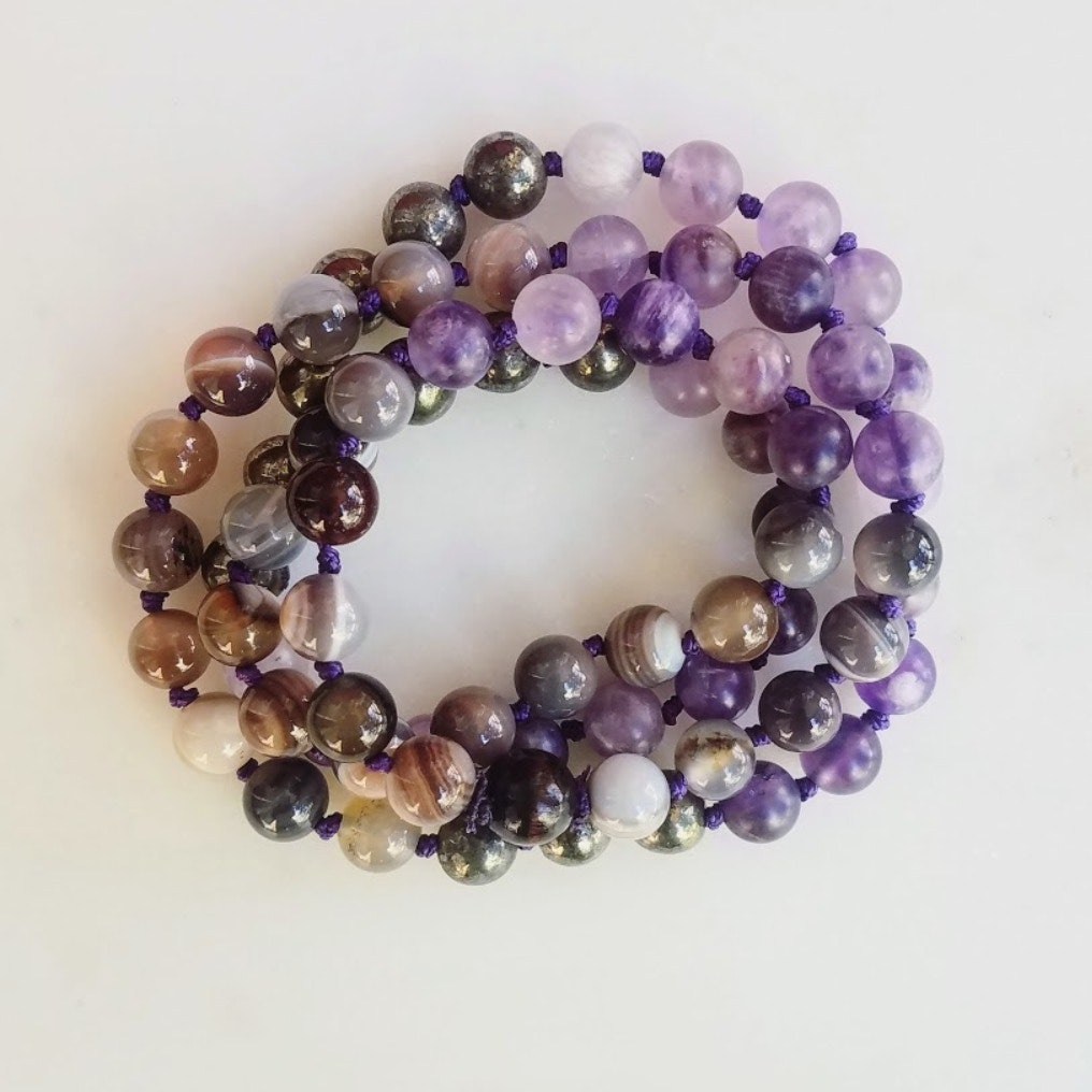 Meditation Garland  | 72 bead amethyst, pyrite and grey agate