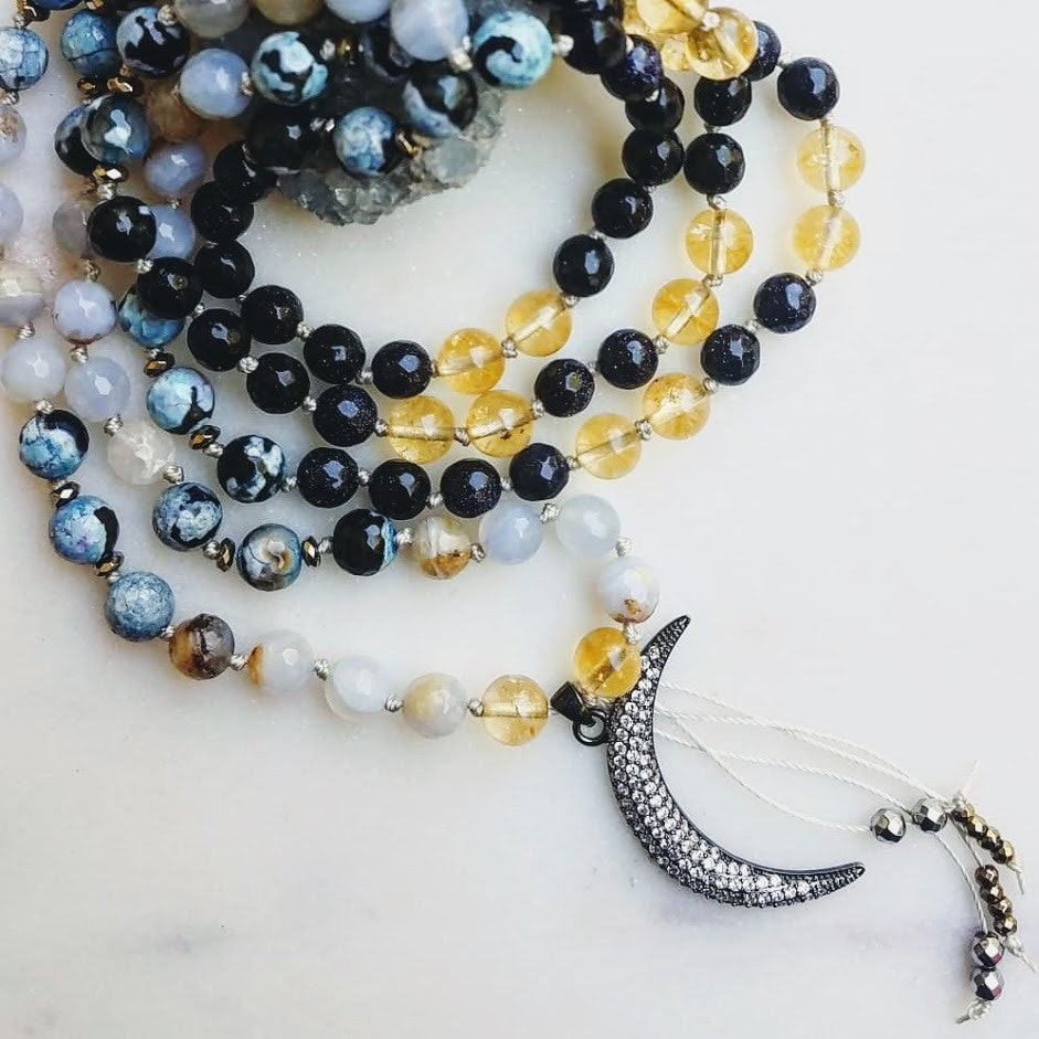 On a Clear Day | natural citrine & blue lace agate 108 bead mala (vegan)