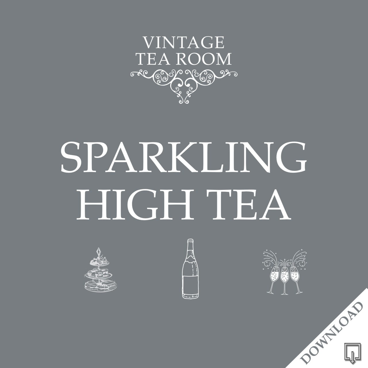 Vintage Sparkling High Tea For Three - Downloadable Voucher