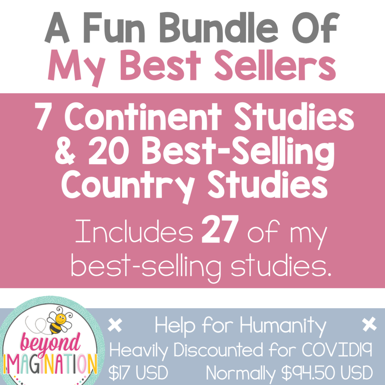 Continent Study Bundle + 20 Best-Selling Country Studies Help for Humanity COVID19