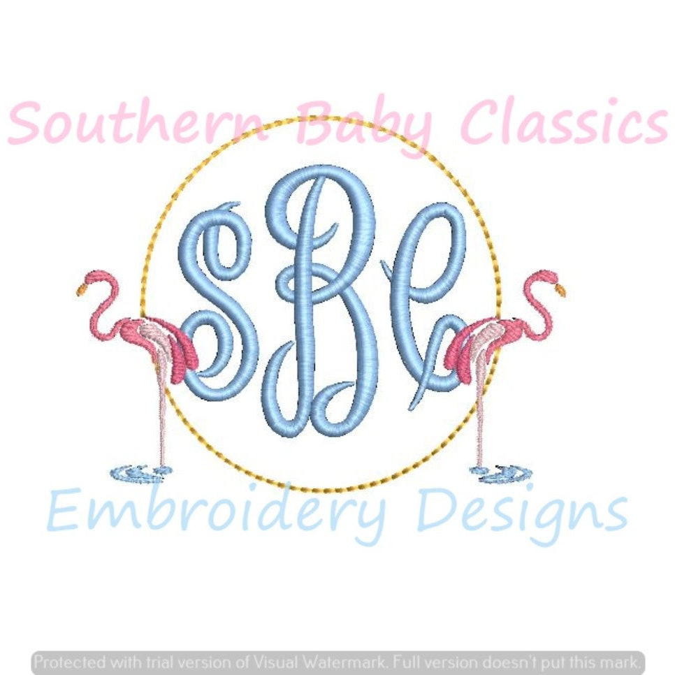 Flamingo Duo Fill Monogram Frame Machine Embroidery Summer