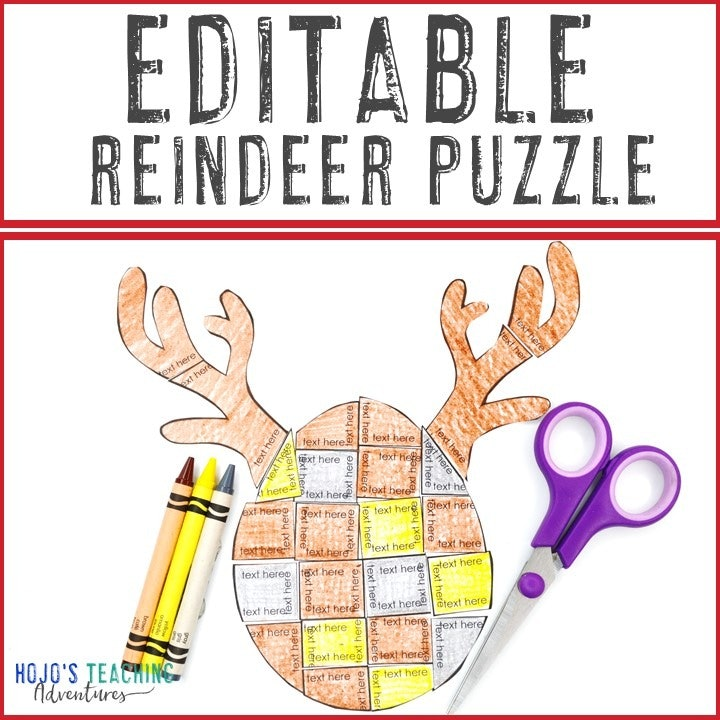 EDITABLE Reindeer Puzzles for Elementary or Middle School Kids