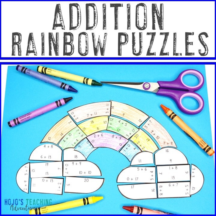 ADDITION Rainbow Puzzles for 1st, 2nd, or 3rd Grade
