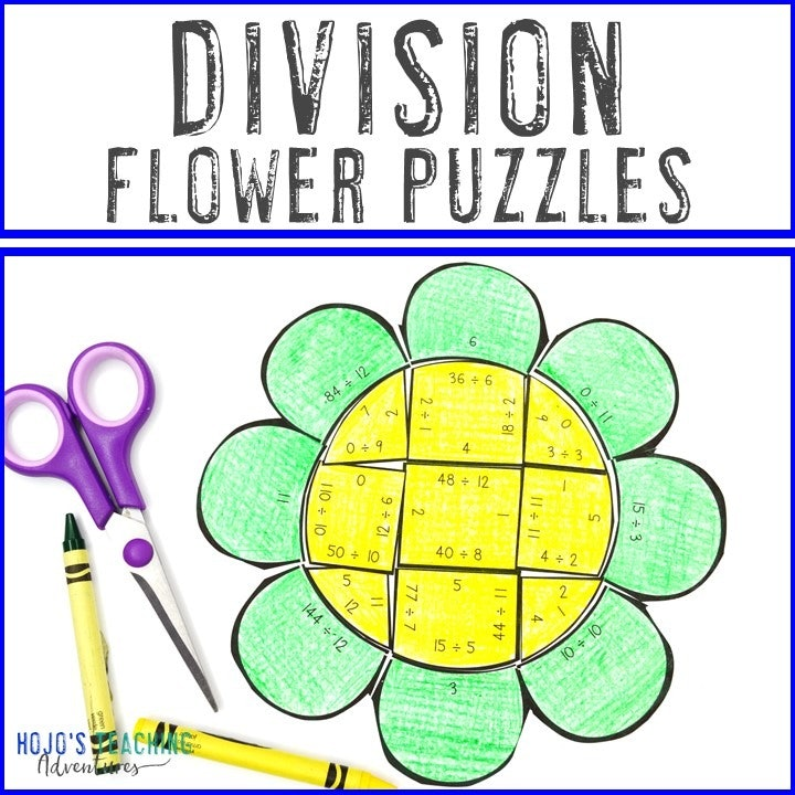DIVISION Flower Puzzles for 3rd, 4th, or 5th Grade