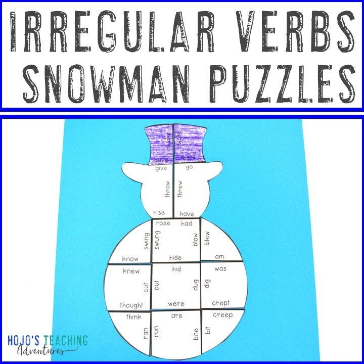 IRREGULAR VERBS Snowman Puzzles for 2nd, 3rd, 4th, 5th, or 6th Grade