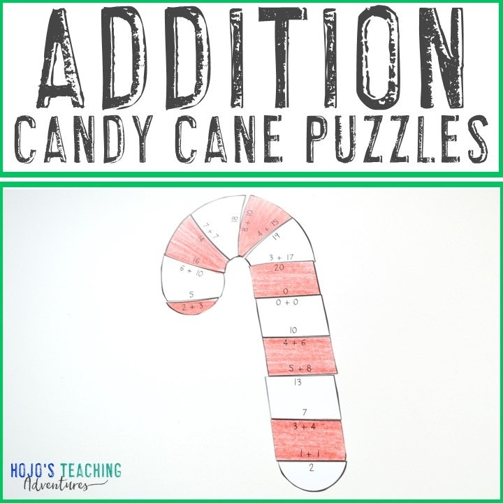 ADDITION Candy Cane Puzzles for 1st, 2nd, or 3rd Grade